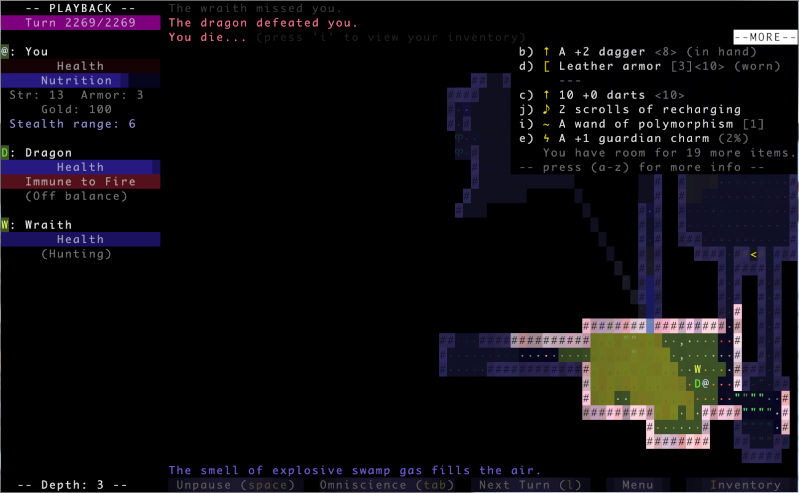 Challenge Francophone de Roguelike - Brogue - Décembre 2013 - CFRL1312BROGUE173-34229155-4 Deaths10