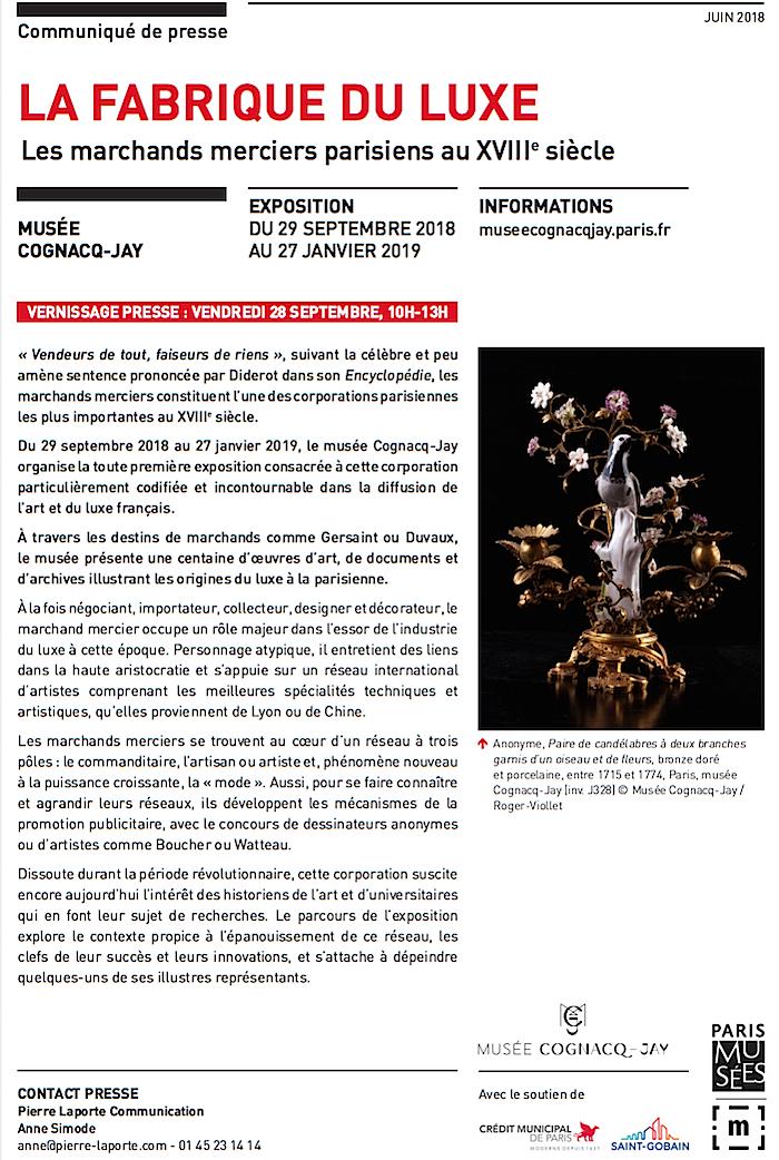 Exposition à Cognacq-Jay : La Fabrique du luxe - Les marchands merciers parisiens au XVIIIe siècle 111