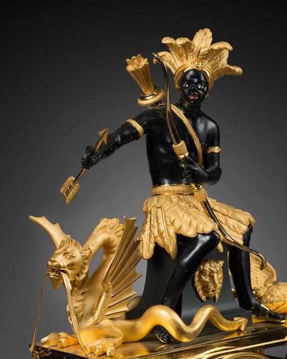 """Les pendules dites """"Au bon sauvage"""" et les créations de Jean-Simon Deverberie : L'Afrique et l'Amérique 11b10"""