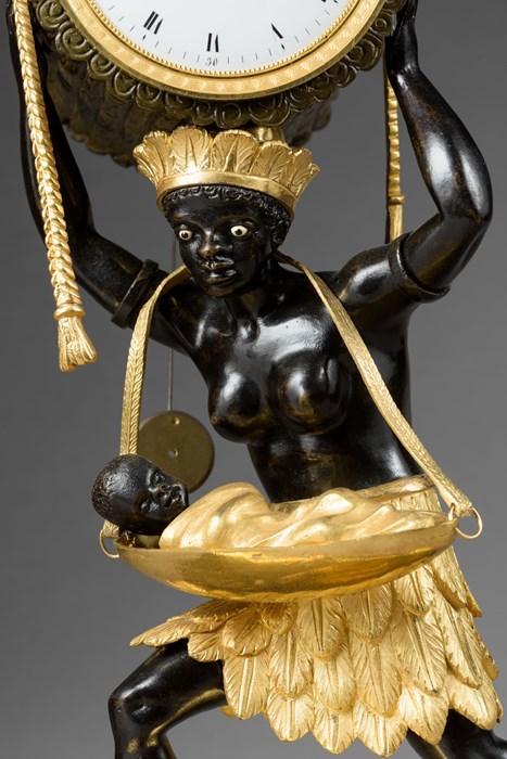 """Les pendules dites """"Au bon sauvage"""" et les créations de Jean-Simon Deverberie : L'Afrique et l'Amérique 12c10"""