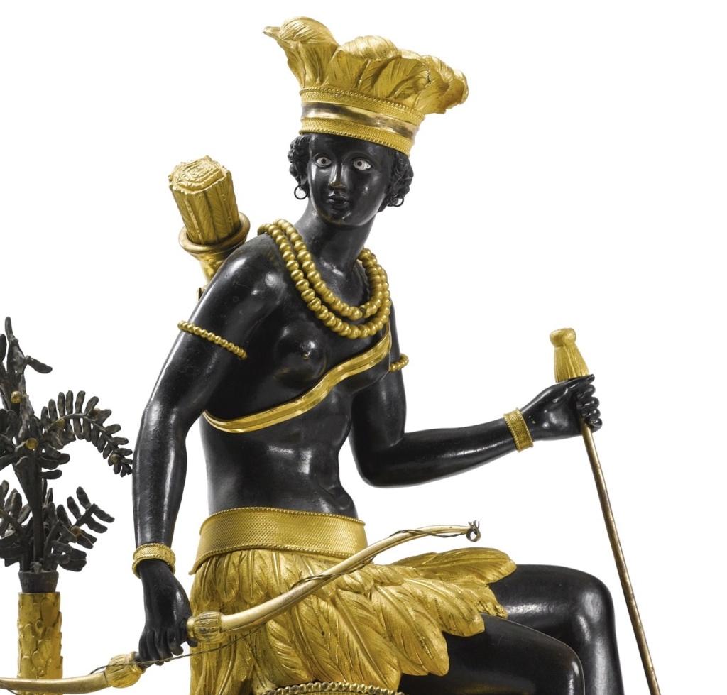 """Les pendules dites """"Au bon sauvage"""" et les créations de Jean-Simon Deverberie : L'Afrique et l'Amérique 491n0811"""