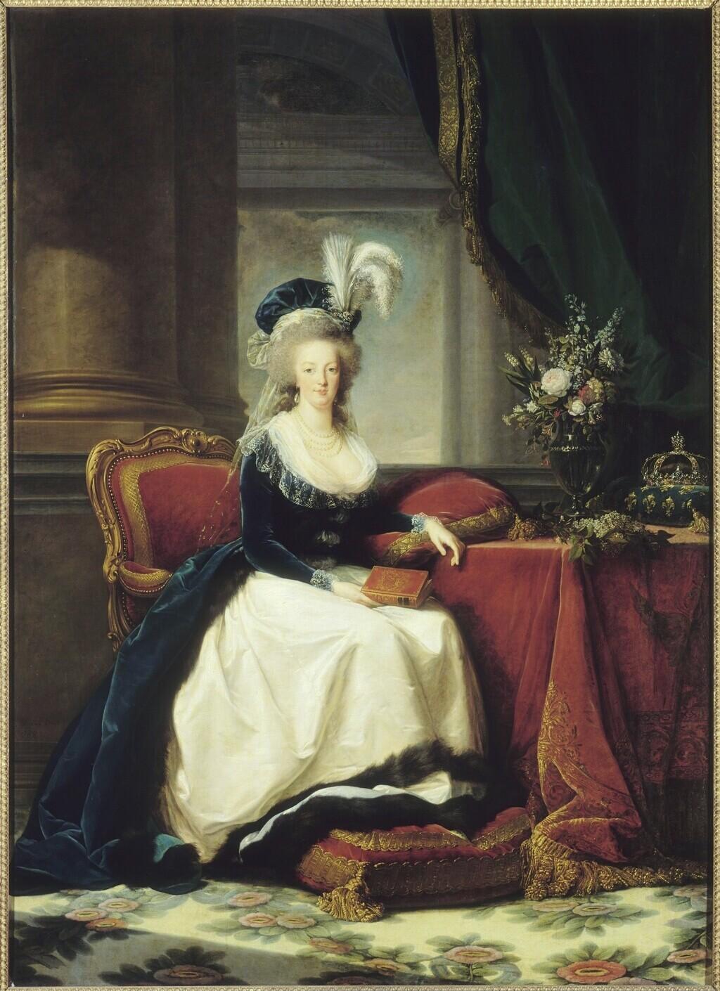 Portraits de Marie-Antoinette au livre, en robe bleue, par Vigée Le Brun (1785 - 1788 ?) Antoin12