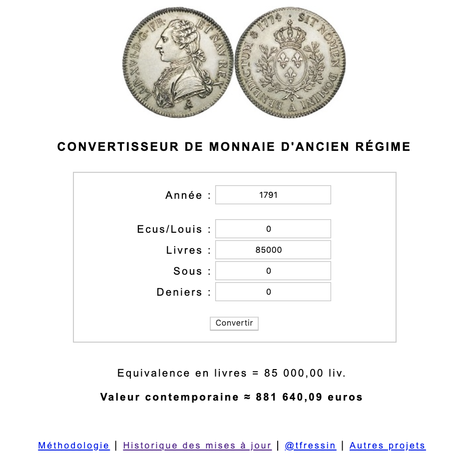 Prix et coût de la vie au XVIIIe siècle : convertisseur de monnaies d'Ancien Régime Capt1046
