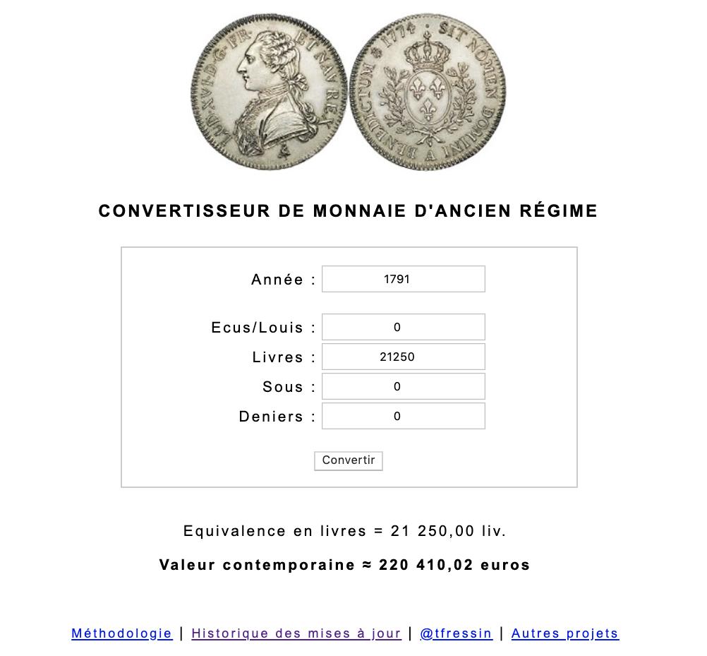 Prix et coût de la vie au XVIIIe siècle : convertisseur de monnaies d'Ancien Régime Capt1048