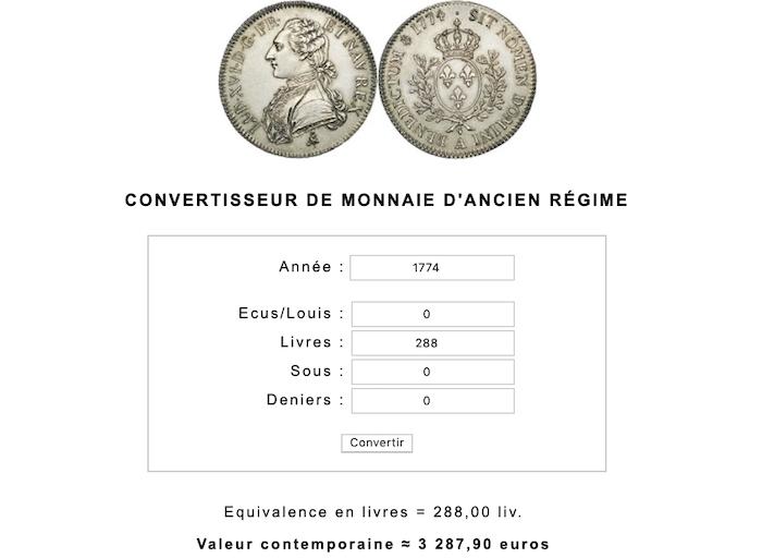 Prix et coût de la vie au XVIIIe siècle : convertisseur de monnaies d'Ancien Régime Capt1050