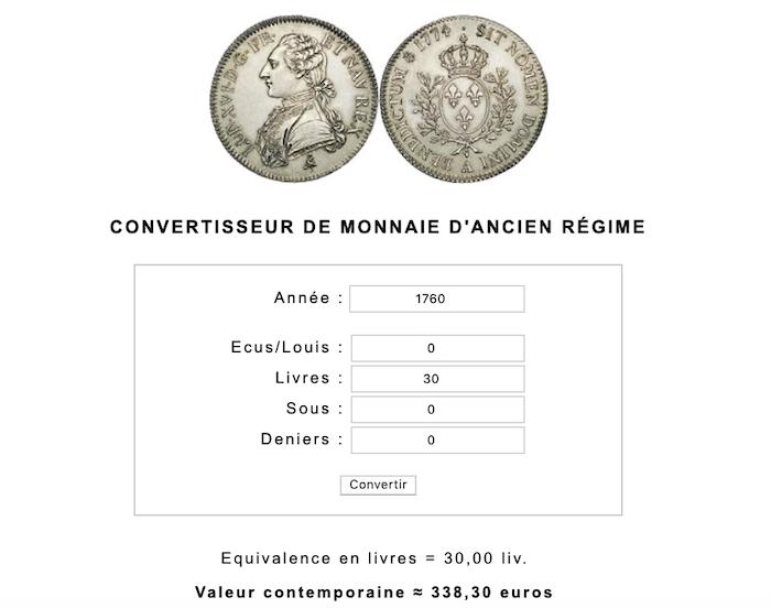 Prix et coût de la vie au XVIIIe siècle : convertisseur de monnaies d'Ancien Régime Capt1052