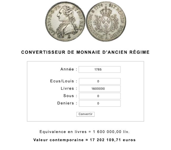 Prix et coût de la vie au XVIIIe siècle : convertisseur de monnaies d'Ancien Régime Capt1054