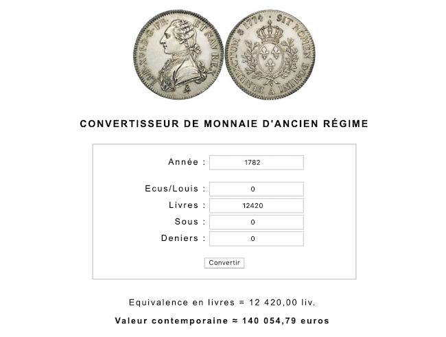 Prix et coût de la vie au XVIIIe siècle : convertisseur de monnaies d'Ancien Régime Capt1055