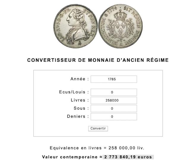 Prix et coût de la vie au XVIIIe siècle : convertisseur de monnaies d'Ancien Régime Capt1067