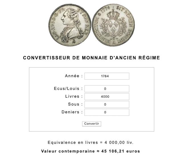 Prix et coût de la vie au XVIIIe siècle : convertisseur de monnaies d'Ancien Régime Capt1068