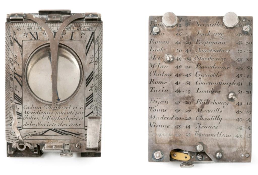 Latitudes et longitudes, les instruments de mesure du temps pour les voyages : chronomètre de marine, cadrans solaires et boussoles du XVIIIe siècle Capt1218