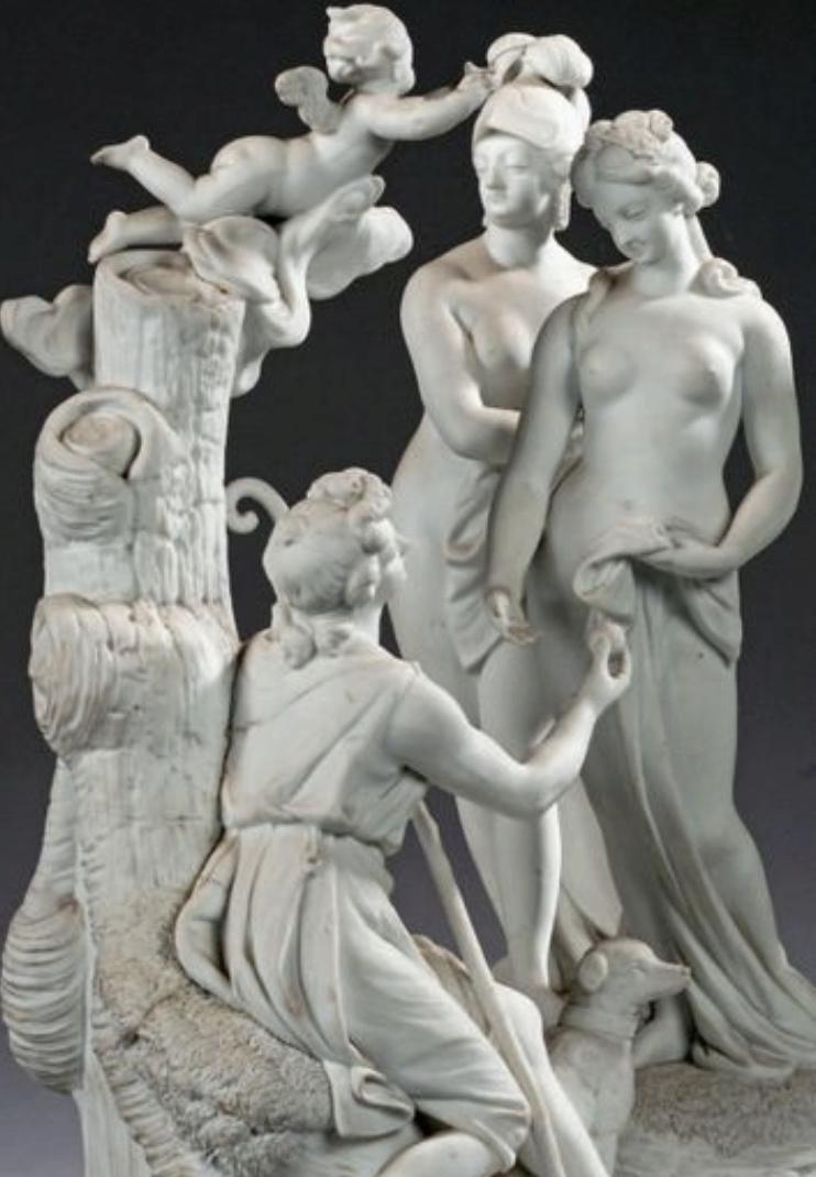 Groupe en biscuit de porcelaine de Niderviller, par Lemire : Marie-Antoinette représentée sous les traits de Minerve ? Captu214