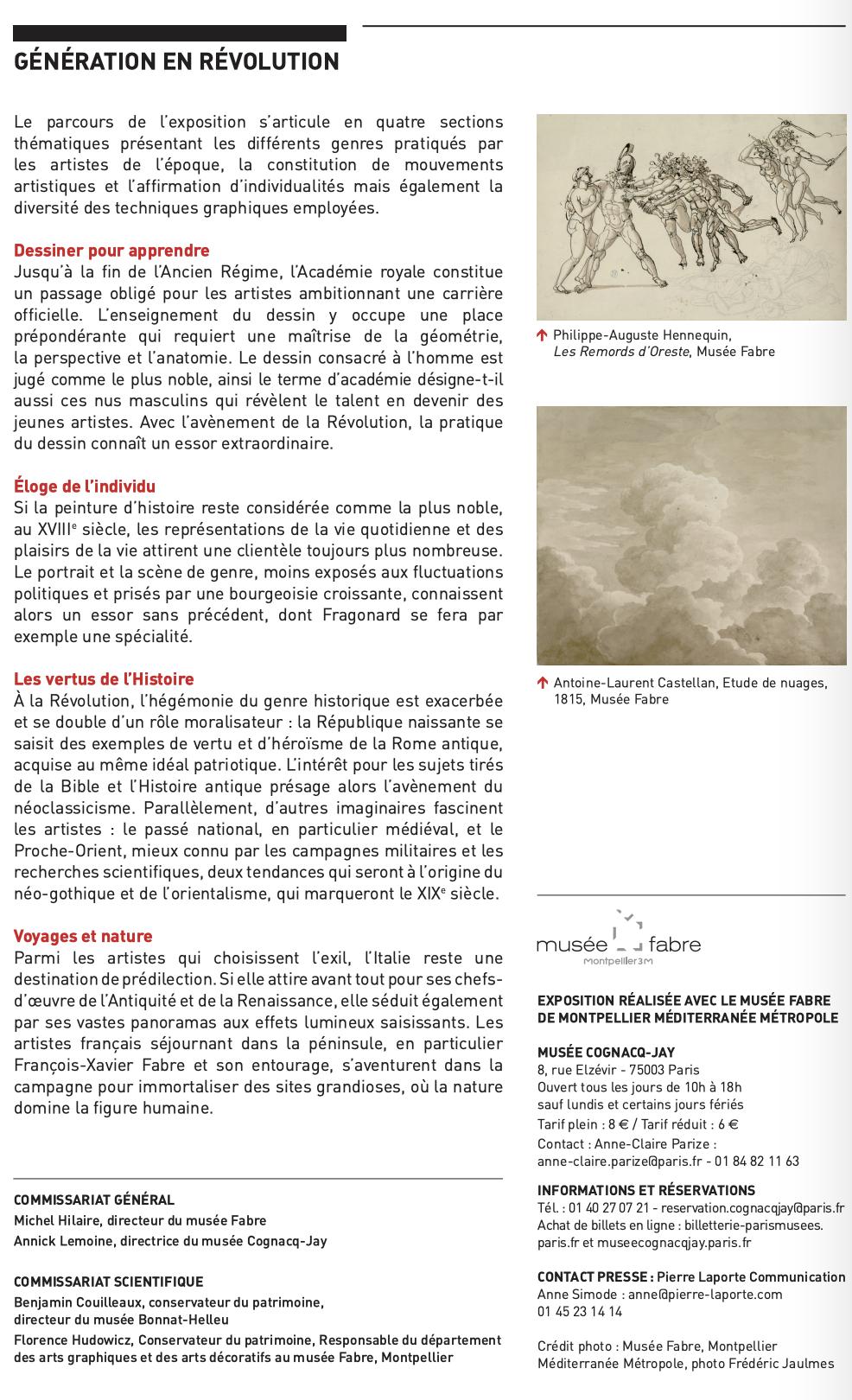 Expo Cognacq Jay : Génération en Révolution - Dessins français du musée Fabre Captu595