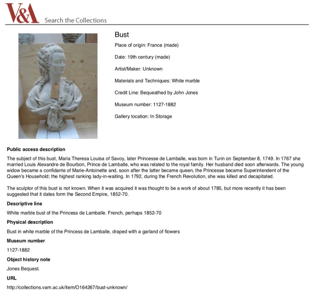Sculpture : Les bustes de la princesse de Lamballe (présumée) Captu693
