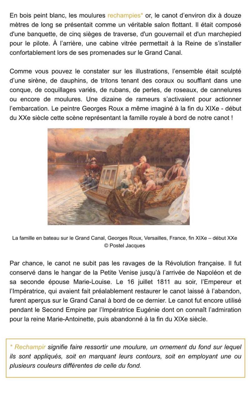 Le canot de promenade de Marie-Antoinette à Versailles Captu749