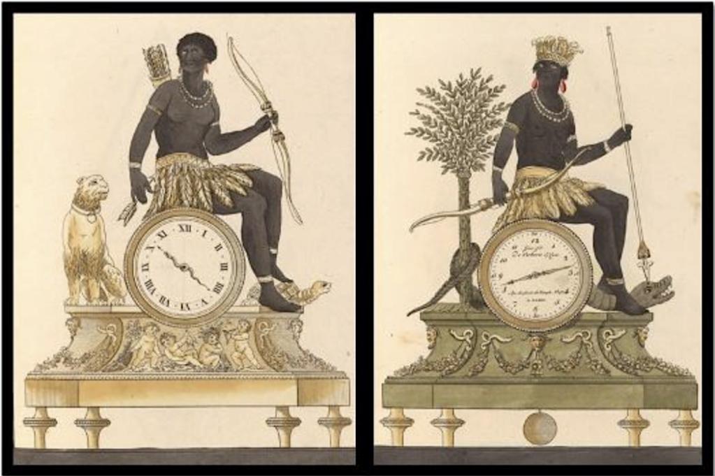 """Les pendules dites """"Au bon sauvage"""" et les créations de Jean-Simon Deverberie : L'Afrique et l'Amérique Captu870"""