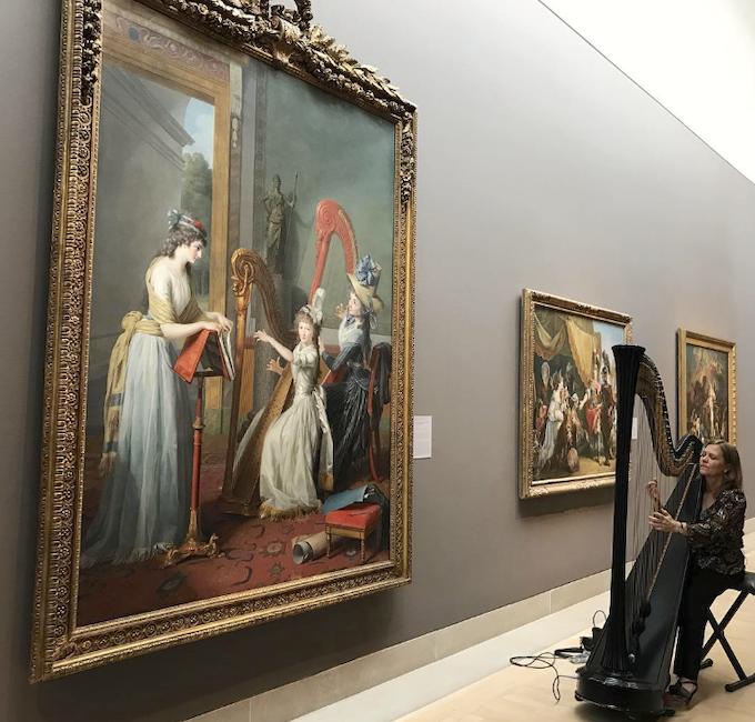 La leçon de harpe. Du peintre Jean-Antoine-Théodore Giroust Captu966