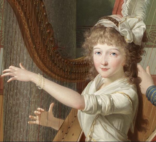 La leçon de harpe. Du peintre Jean-Antoine-Théodore Giroust Captu969