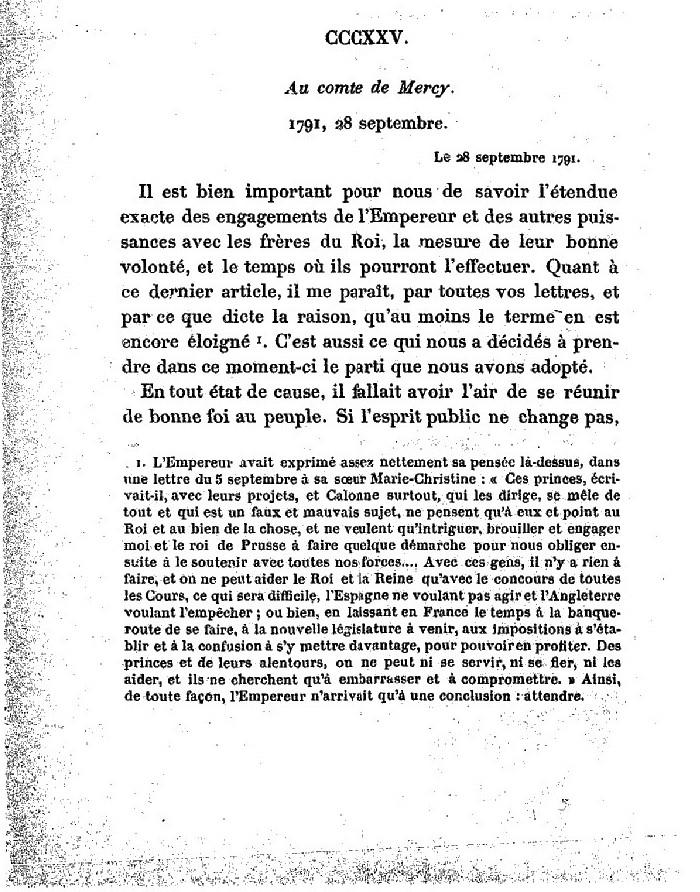 La correspondance de Marie-Antoinette avec le comte de Mercy-Argenteau - Page 2 Lettre15
