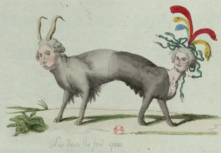 Marie-Antoinette, caricaturée en architigresse ou panthère autrichienne Louisx11