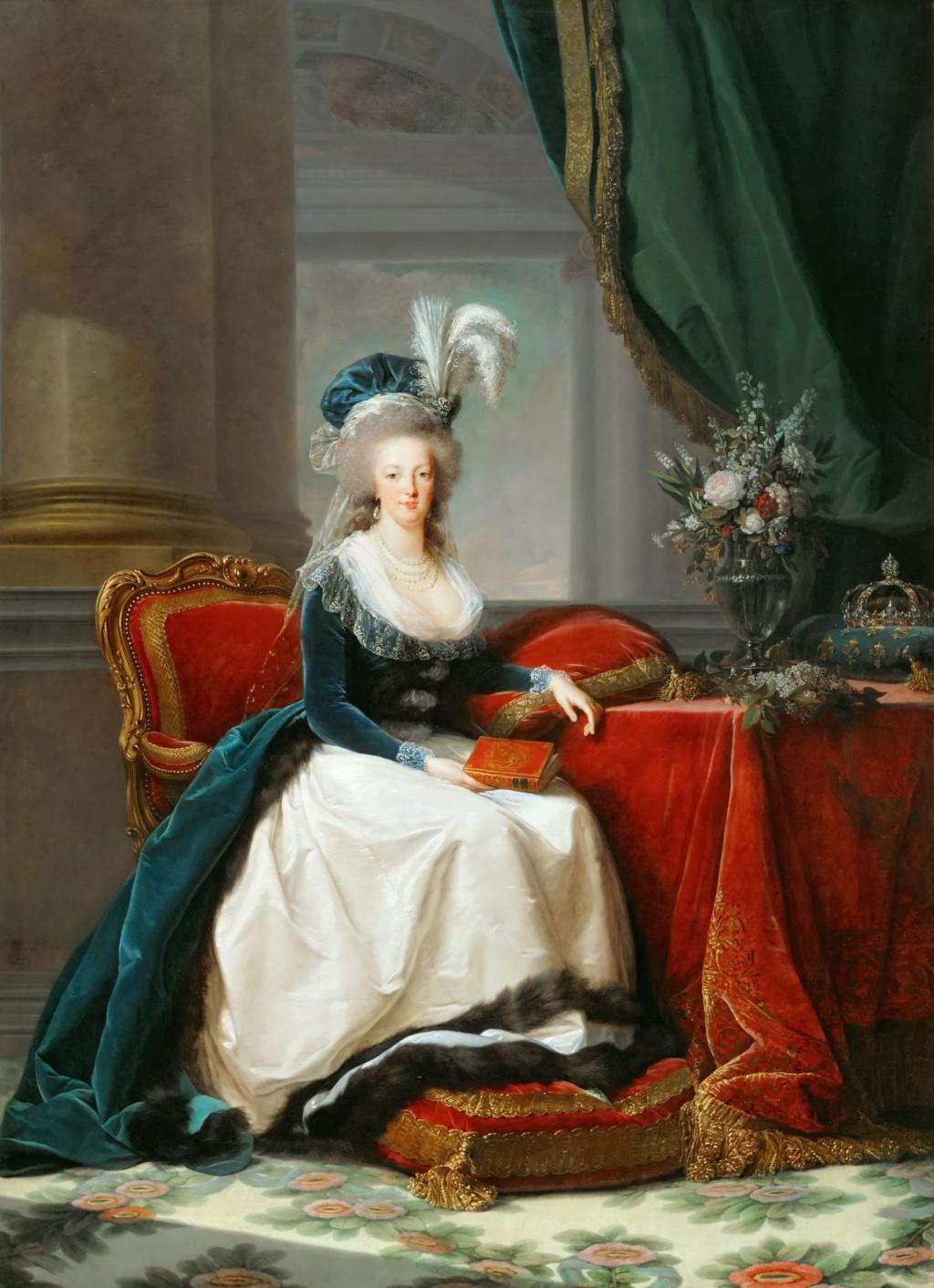 Portraits de Marie-Antoinette au livre, en robe bleue, par Vigée Le Brun (1785 - 1788 ?) Mariea10