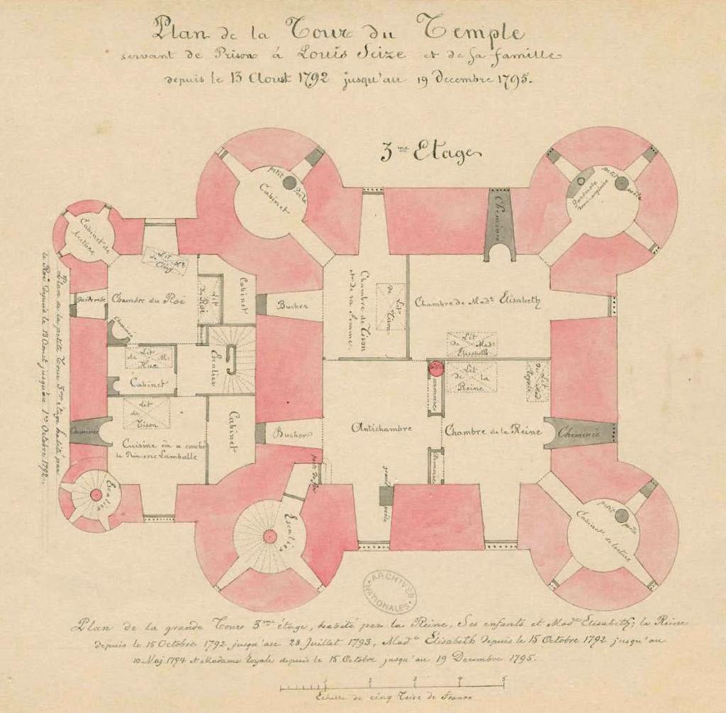 Plans et aménagements du donjon du Temple : la grande tour, la petite tour Plan_d13