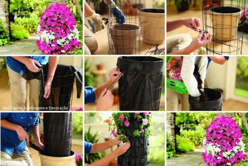 Viseće saksije- cvijetni stubovi.. Ideja10