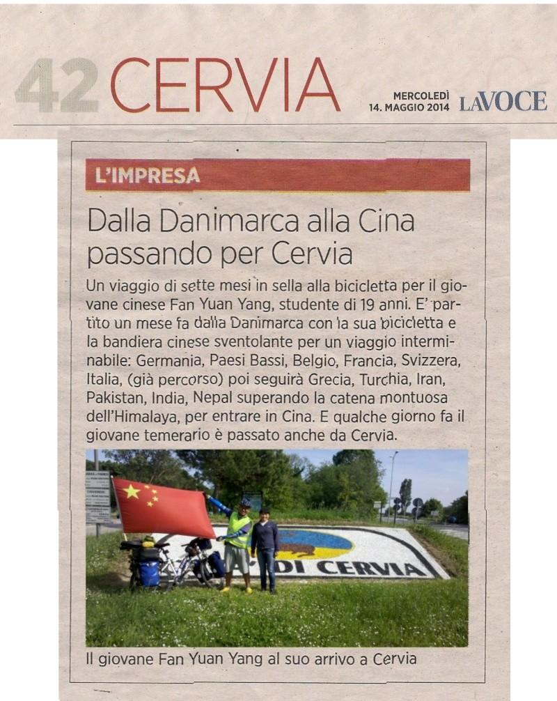 Danimarca Italia India Cina in bicicletta è il viaggio avventura di un giovane cinese. La_voc11