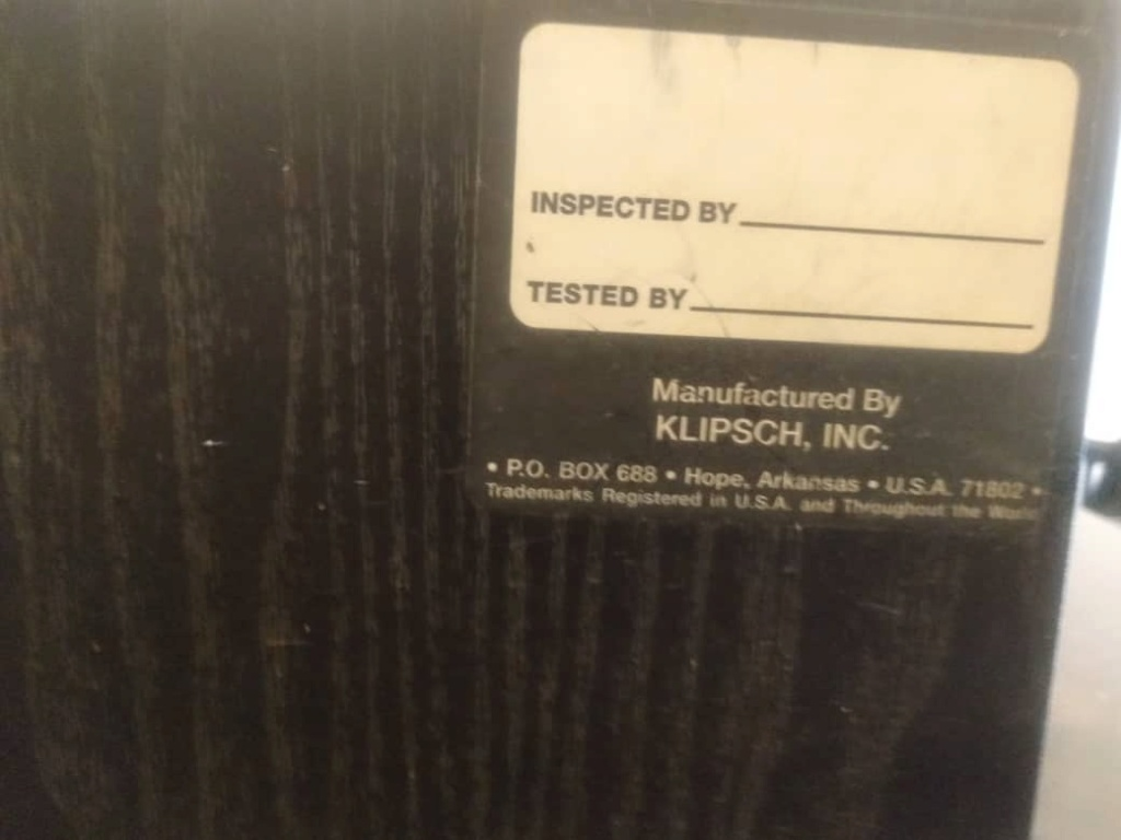 Klipsch center speaker 05f11210