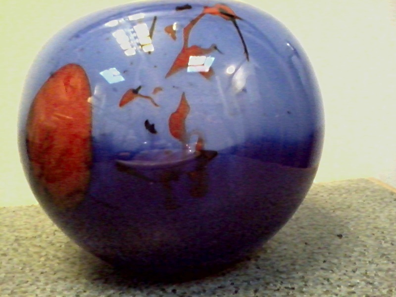 Blue and Orange Glass Sphere Vase Blue_a11
