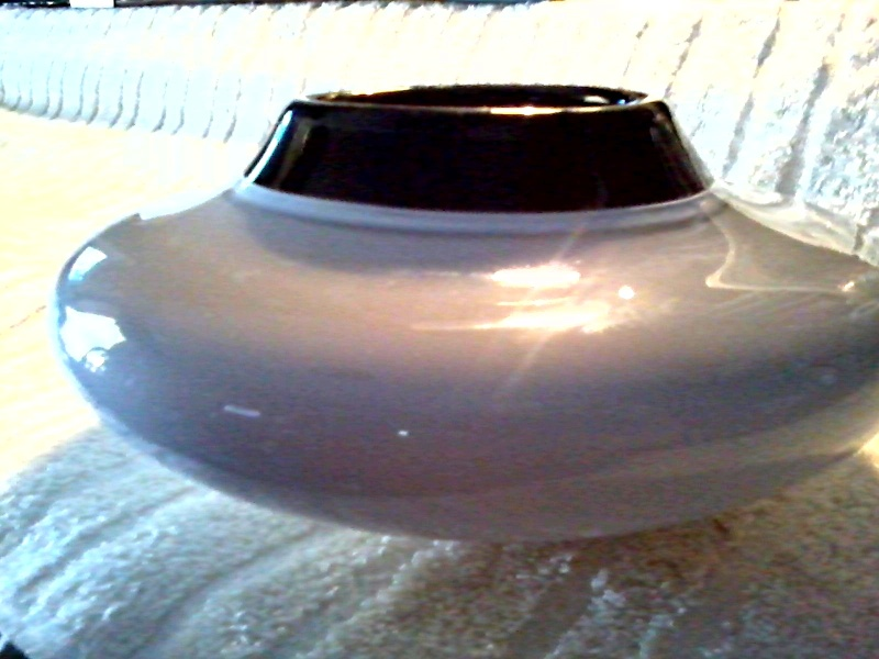"""Grey and Black Glass 7"""" Squat Vase or Bowl Grey_a10"""