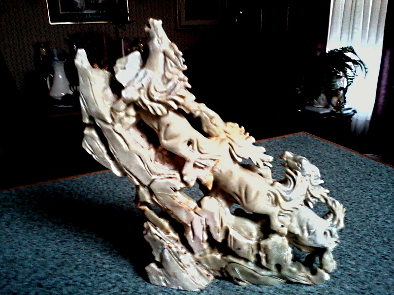 Stampeding Horses Sculpture / Jade or Nephrite ?/ Unknown Maker and Age Jadite11