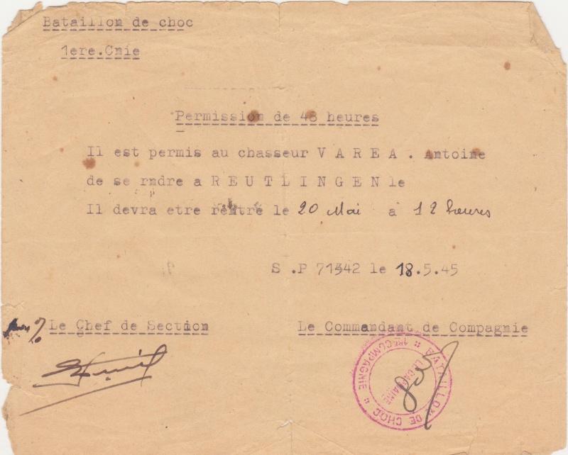 VAREA ANTOINE, bataillon de choc 43-45 00310