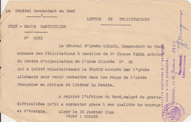 VAREA ANTOINE, bataillon de choc 43-45 4410