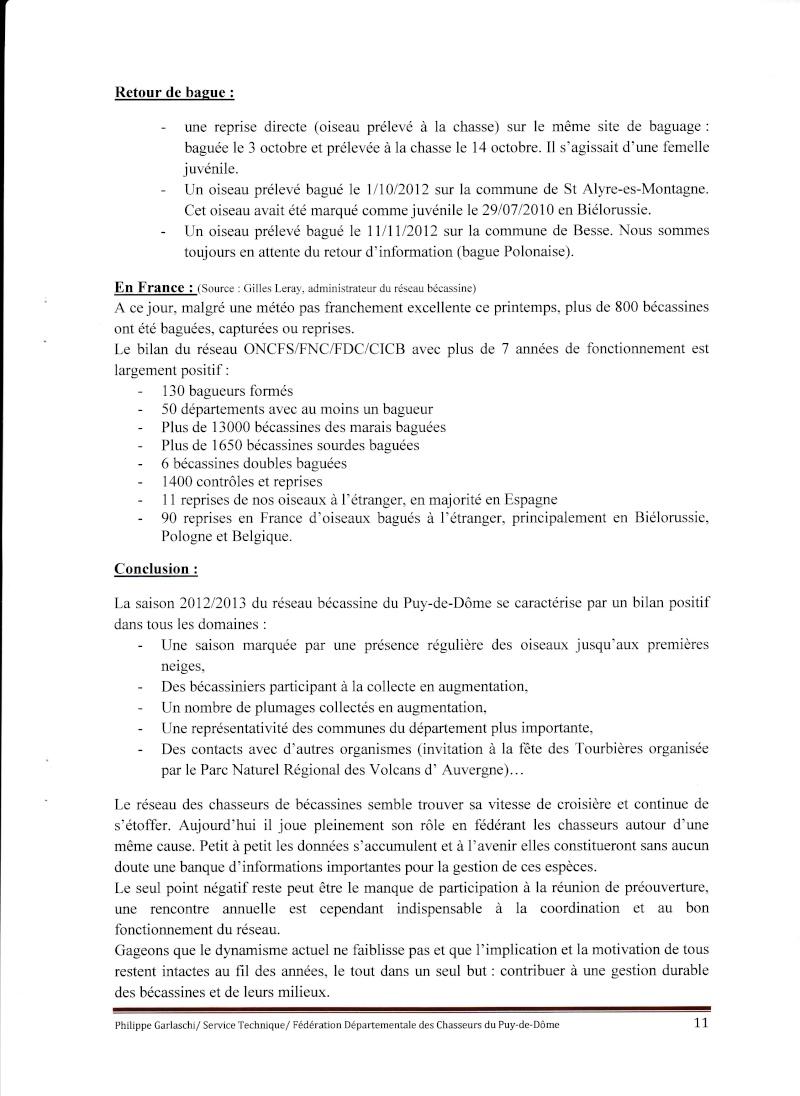Réseau Bécassines Bilan Saison 2012-2013 Puy de Dôme P1111