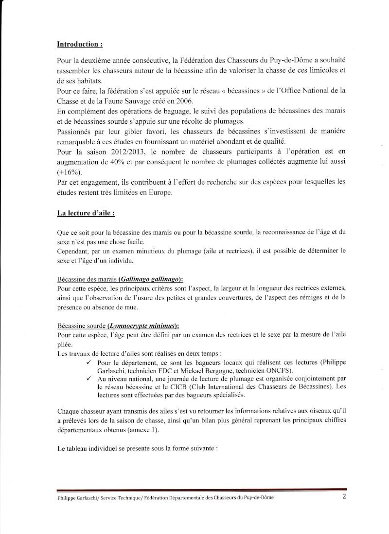 Réseau Bécassines Bilan Saison 2012-2013 Puy de Dôme P210