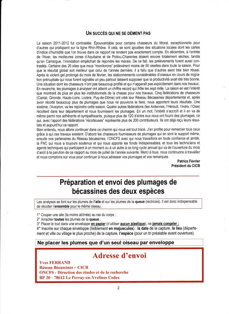 Réseau Bécassines France Bilan Saison 2011-2012 P212