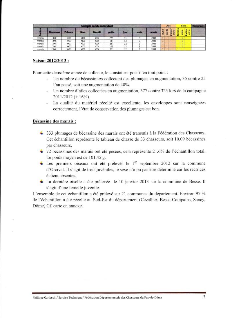 Réseau Bécassines Bilan Saison 2012-2013 Puy de Dôme P310