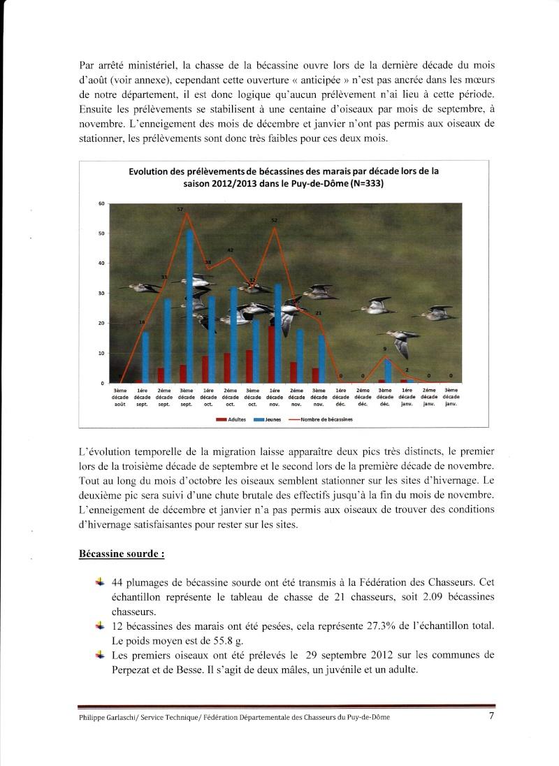 Réseau Bécassines Bilan Saison 2012-2013 Puy de Dôme P710