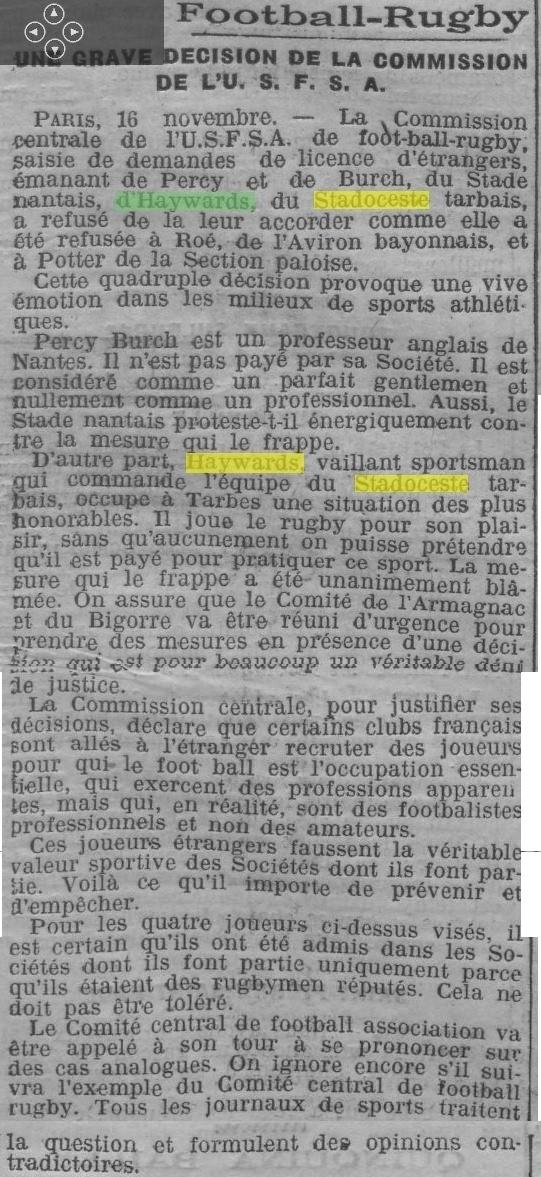 des questions sur Leslie HAYWARD saisons 1912-13  Haywar12