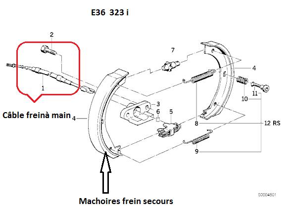 bmw e36 323i m52 an 1996 enlever le c ble de frein main. Black Bedroom Furniture Sets. Home Design Ideas