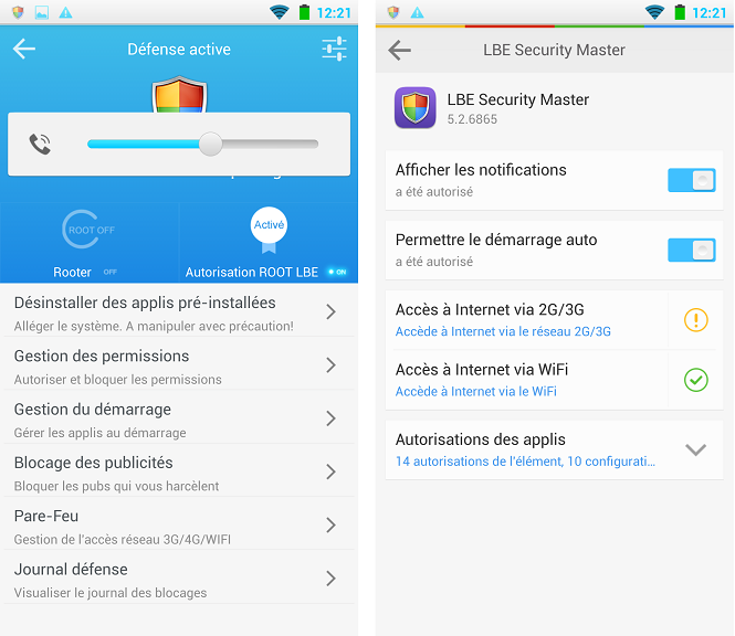 [APPLICATION ANDROID - LBE SECURITY MASTER FR] Gérer les permissions, les applications, la batterie, les pubs, les malwares, les notifications [Gratuit] Topic1 - Page 40 Lbe_pr10