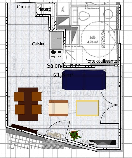 Aménagement séjour/cuisine T2  Plan110
