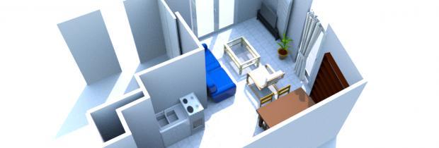 Aménagement séjour/cuisine T2  Plan210
