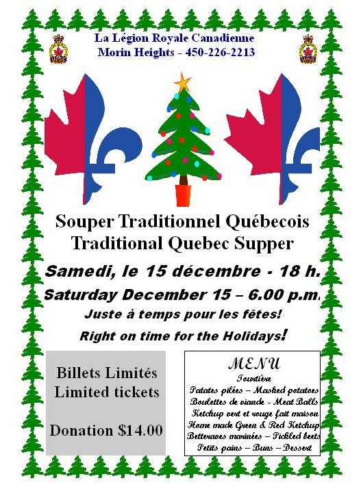 Quebec Traditional Supper Saturday December 15 2018 43595010