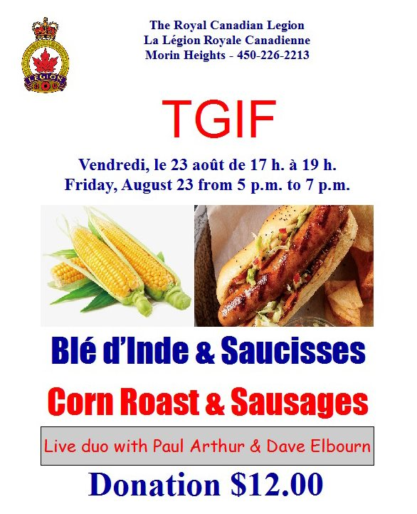 TGIF Corn Roast & Sausages with Live Music Paul Arthur & Dave Elbourn 5 P.M. to 8 P.M 67705110