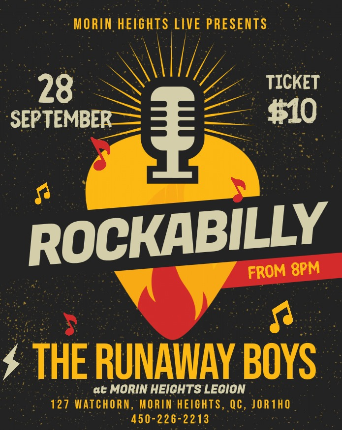 The Runaway Boys Rockabilly September 28 2019 8 PM. 68644310