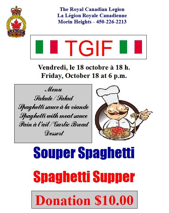 TGIF Spaghetti Supper October 18 2019 6 PM 72476110