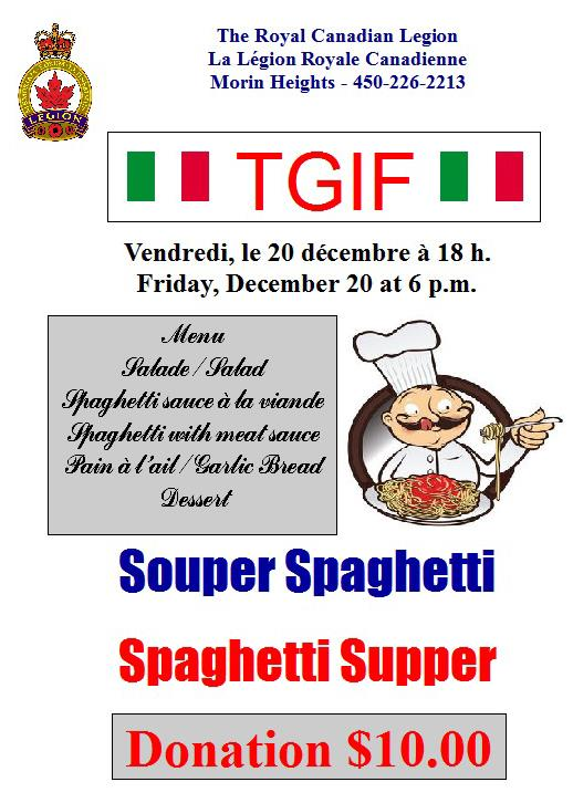 TGIF Spaghetti Supper Friday December 20 at 6 PM 75380210