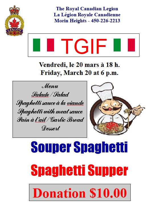 TGIF Spaghetti Supper Friday, March 20 at 6 p.m. EVENT CANCELLED 87361210